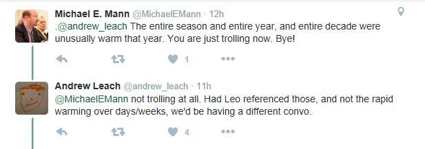 calls Leach a troll
